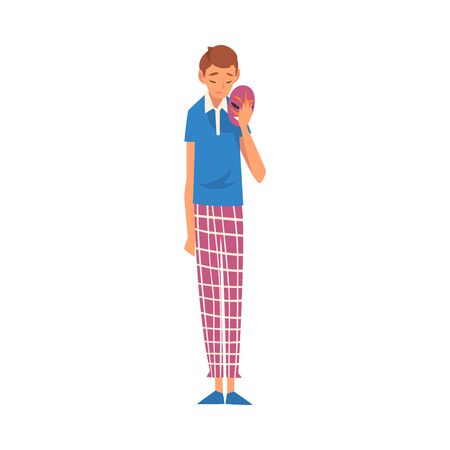 Sad Young Man Holding Face Mask, Guy Changing His Personality or Individuality Vector Illustration on White Background. Illustration
