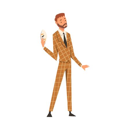 Businessman Holding Face Mask, Man Changing His Personality or Individuality to Conform to Social Requirements Vector Illustration on White Background.