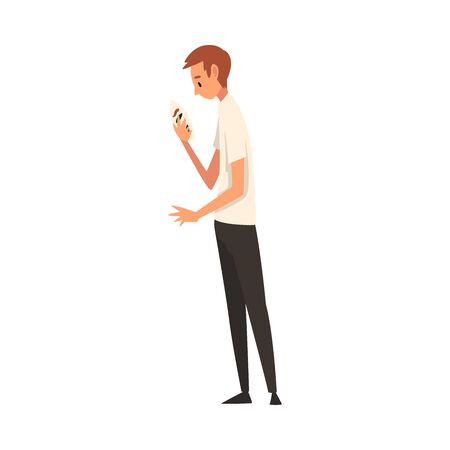 Young Man Holding Face Mask, Guy Changing His Personality or Individuality Vector Illustration on White Background.