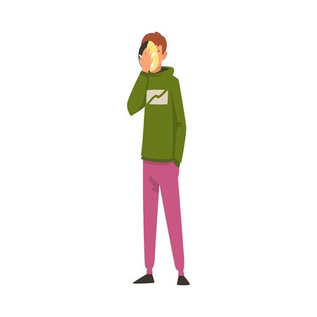 Man Covering His Face with Mask, Guy Hiding His Personality or Individuality to Conform to Social Requirements Vector Illustration on White Background.
