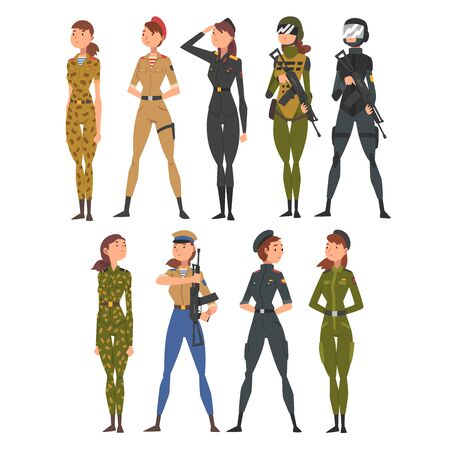 Collection of Woman Soldiers or Officers in Combat Uniform with Assault Rifles, Professional Military Female Characters Vector Illustration