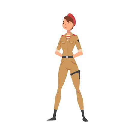 Young Woman Soldier or Officer in Khaki Combat Uniform and Red Beret, Professional Military Female Character Vector Illustration