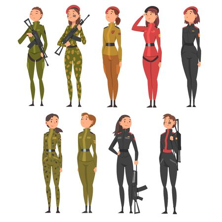 Collection of Young Woman Soldiers or Officers in Combat Uniform with Assault Rifles, Professional Military Female Characters Vector Illustration