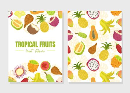 Tropical Fruits Sweet Vitamins Card Template with Fresh Ripe Exotic Fruit Vector Illustration, Web Design.