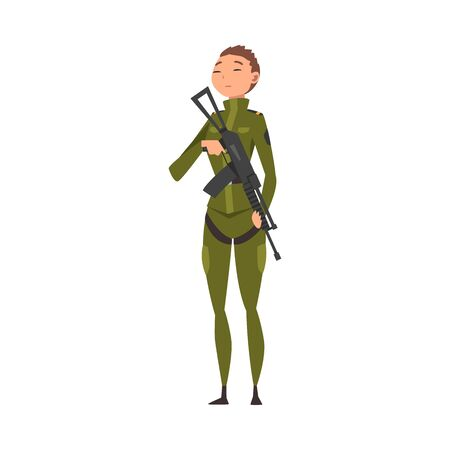 Young Woman Soldier or Officer in Combat Uniform with Assault Rifle, Professional Military Female Character Vector Illustration