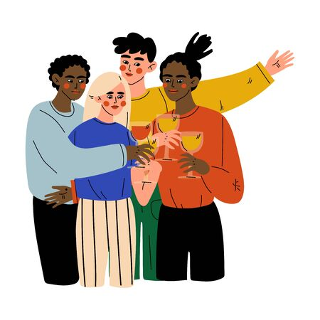 Happy Friends Celebrating an Important Event, Young Men and Women Clinking Glasses and Drinking Alcohol at Party Vector Illustration
