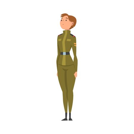 Woman Soldier or Officer in Camouflage Combat Uniform, Professional Military Female Character Vector Illustration