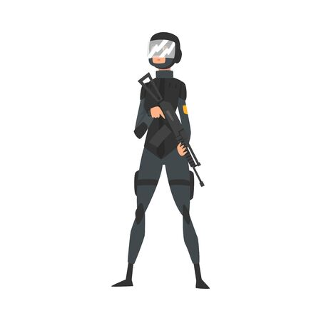Young Woman Soldier or Officer in Black Uniform, Bulletproof Vest, Helmet with Mask and Assault Rifle, Professional Military Female Character Vector Illustration