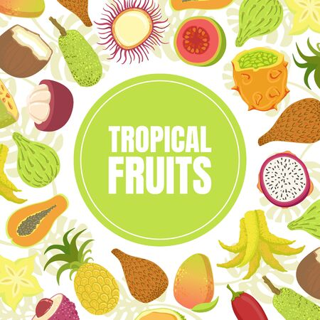 Tropical Fruits Banner Template with Fresh Ripe Exotic Fruit Vector Illustration
