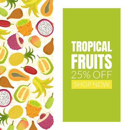 Tropical Fruits Sale Banner Template with Fresh Ripe Exotic Fruit Vector Illustration