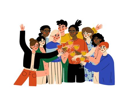 Group of Happy People of Different Nationalities Celebrating an Important Event, Young Men and Women Clinking Glasses and Drinking Alcohol at Party Vector Illustration Ilustração