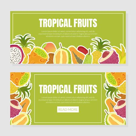 Tropical Fruits Landing Page Template with Fresh Ripe Exotic Fruit Vector Illustration