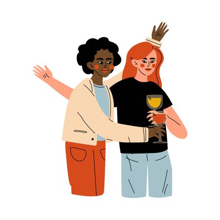 Girls Celebrating an Important Event, Young Women Clinking Glasses and Drinking Alcohol at Party Vector Illustration Ilustração