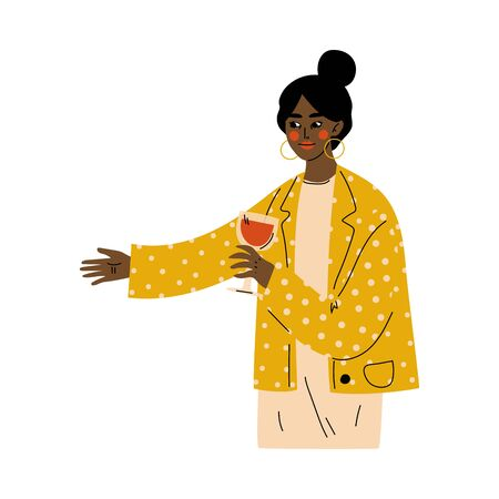 Young African American Woman Celebrating an Important Event with Glass of Wine Vector Illustration