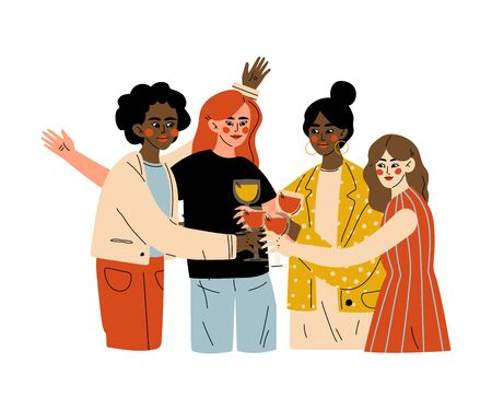 Friends Celebrating an Important Event, Young Men and Women Clinking Glasses and Drinking Alcohol at Celebratory Party Vector Illustration Ilustração