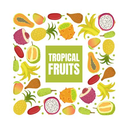 Tropical Fruits Banner Template with Fresh Sweet Ripe Exotic Fruit of Square Shape Vector Illustration