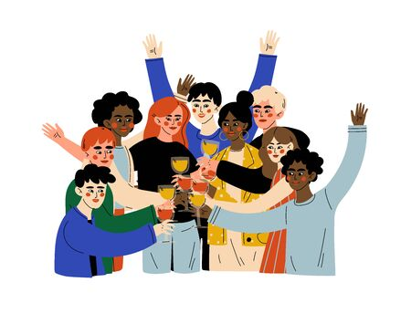 Group of Happy People Celebrating an Important Event, Young Men and Women Clinking Glasses and Drinking Alcohol at Party Vector Illustration