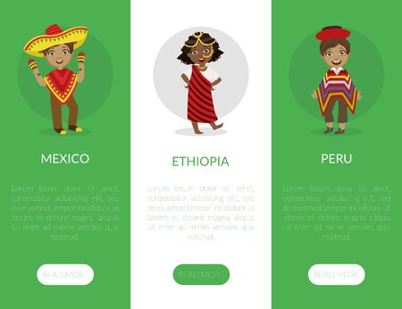 Mexico, Ethiopia, Peru Landing Page Template with Kids Wearing Traditional Costumes Vector Illustration, Web Design.