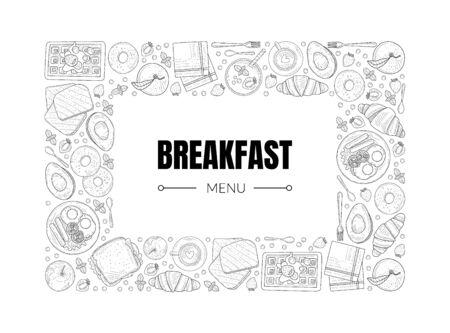 Modello dell'insegna del menu della colazione, illustrazione di vettore disegnata a mano dell'annata della cornice dei piatti dell'alimento di mattina