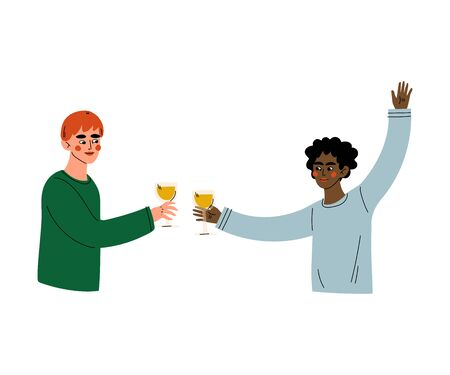 Guys Celebrating an Important Event, Young Men Clinking Glasses and Drinking Alcohol at Party Vector Illustration Ilustração