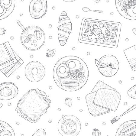 Breakfast Menu Hand Drawn Seamless Pattern with Morning Food Dishes, Can Be Used Fabric Wrapping Paper, Website Wallpapers, Background Vector Illustration