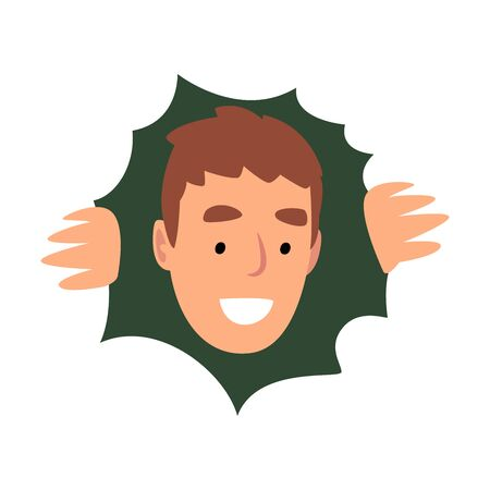 Young Smiling Male Character Hiding in Bushes and Looking Out, View from Above Vector Illustration