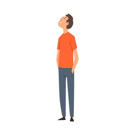 Young Man in Casual Clothes Looking Up Vector Illustration