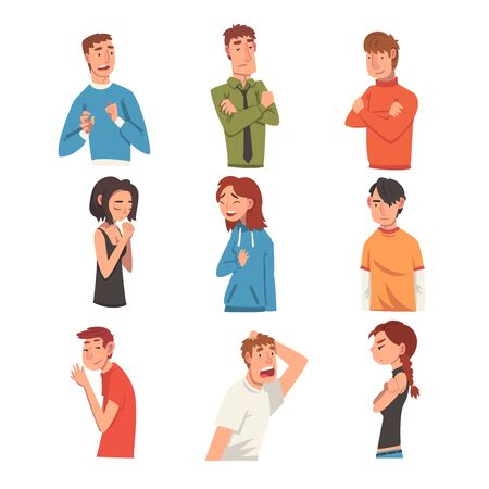 Men and Women with Different Expressions Set, Male and Female Character Facial Emotions Vector Illustration on White Background. Çizim