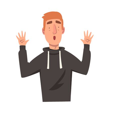 Surprised Young Man with Raised Up Hands, Male Character Facial Emotions Vector Illustration on White Background.
