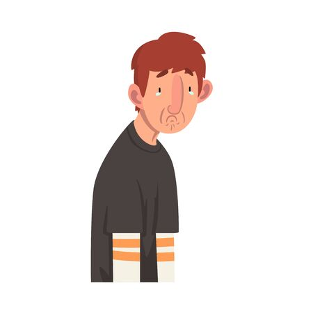 Apathetic Unhappy Young Man, Male Character Facial Emotions Vector Illustration