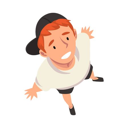 Smiling Teenage Boy Character in Cap Looking Up, View from Above Vector Illustration