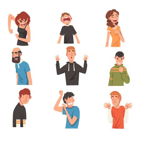 People with Different Expressions Set, Male and Female Character Facial Emotions Vector Illustration on White Background.