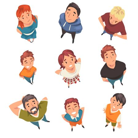 Cheerful People Characters Looking Up Set, View from Above Vector Illustration on White Background. Ilustração