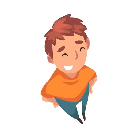Smiling Teenage Boy Character Looking Up, View from Above Vector Illustration on White Background. Ilustração