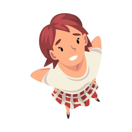Cheerful Girl Character Looking Up, View from Above Vector Illustration on White Background.