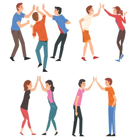 Men and Women Giving High Five to Each Other Set, Meeting of People, Greeting of Freinds or Partners Vector Illustration on White Background. Ilustração