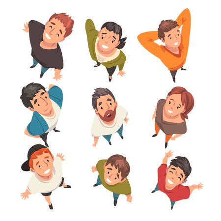 Smiling People Characters Looking Up Set, View from Above Vector Illustration on White Background.