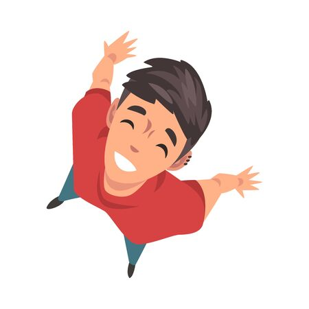 Smiling Teenage Boy Character Looking Up, View from Above Vector Illustration on White Background.