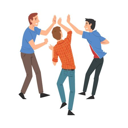 Men Giving High Five to Each Other, Meeting of People, Greeting of Freinds or Partners Vector Illustration on White Background.