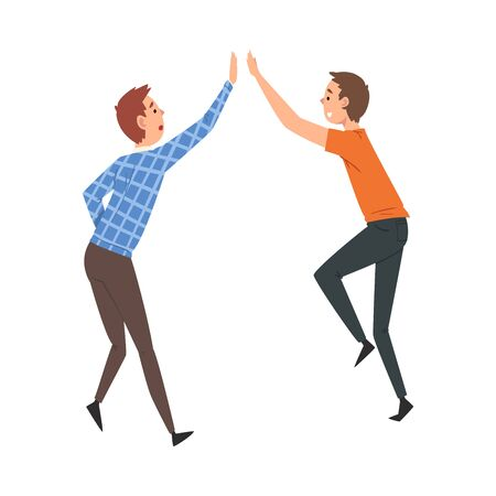 Happy Male Friends Giving High Five to Each Other, Meeting of Two People, Greeting of Partners Vector Illustration on White Background.