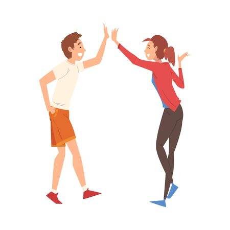 Young Man and Woman Giving High Five to Each Other, Meeting of Two People, Greeting of Freinds or Partners Vector Illustration on White Background.