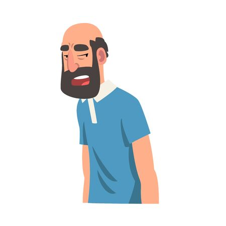 Grumpy Bearded Man, Male Character Facial Emotions Vector Illustration on White Background. Illustration