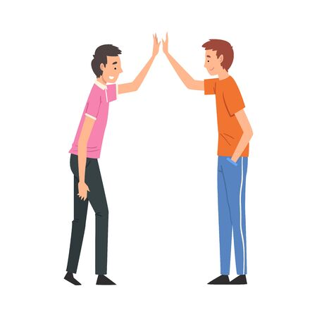 Male Friends Giving High Five to Each Other, Meeting of Two People, Greeting of Partners Vector Illustration on White Background.