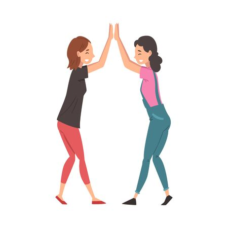 Girls Giving High Five to Each Other, Meeting of Two People, Greeting of Freinds or Partners Vector Illustration on White Background.
