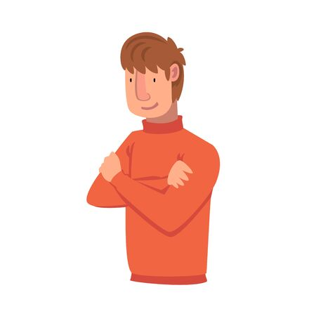 Confident Young Man with Folded Hands, Male Character Facial Emotions Vector Illustration