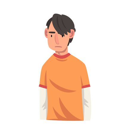 Serious Young Man, Male Character Facial Emotions Vector Illustration on White Background.