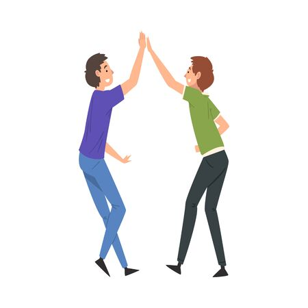 Two Smiling Men Giving High Five to Each Other, Meeting of Two People, Greeting of Freinds or Partners Vector Illustration Иллюстрация