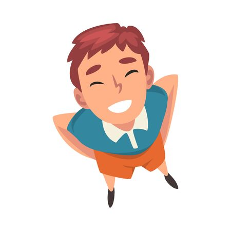 Smiling Boy Character Looking Up, View from Above Vector Illustration on White Background. Ilustração