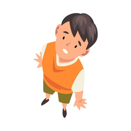 Cheerful Boy Character Looking Up, View from Above Vector Illustration on White Background.