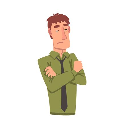 Skeptical Young Man, Male Character Facial Emotions Vector Illustration on White Background. Illustration